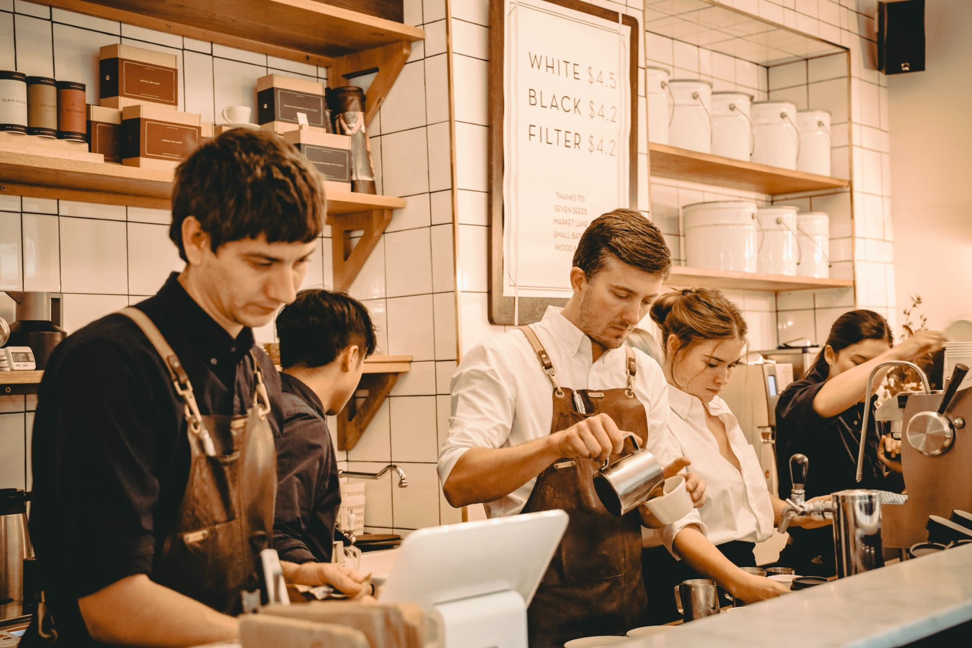 bar staff working