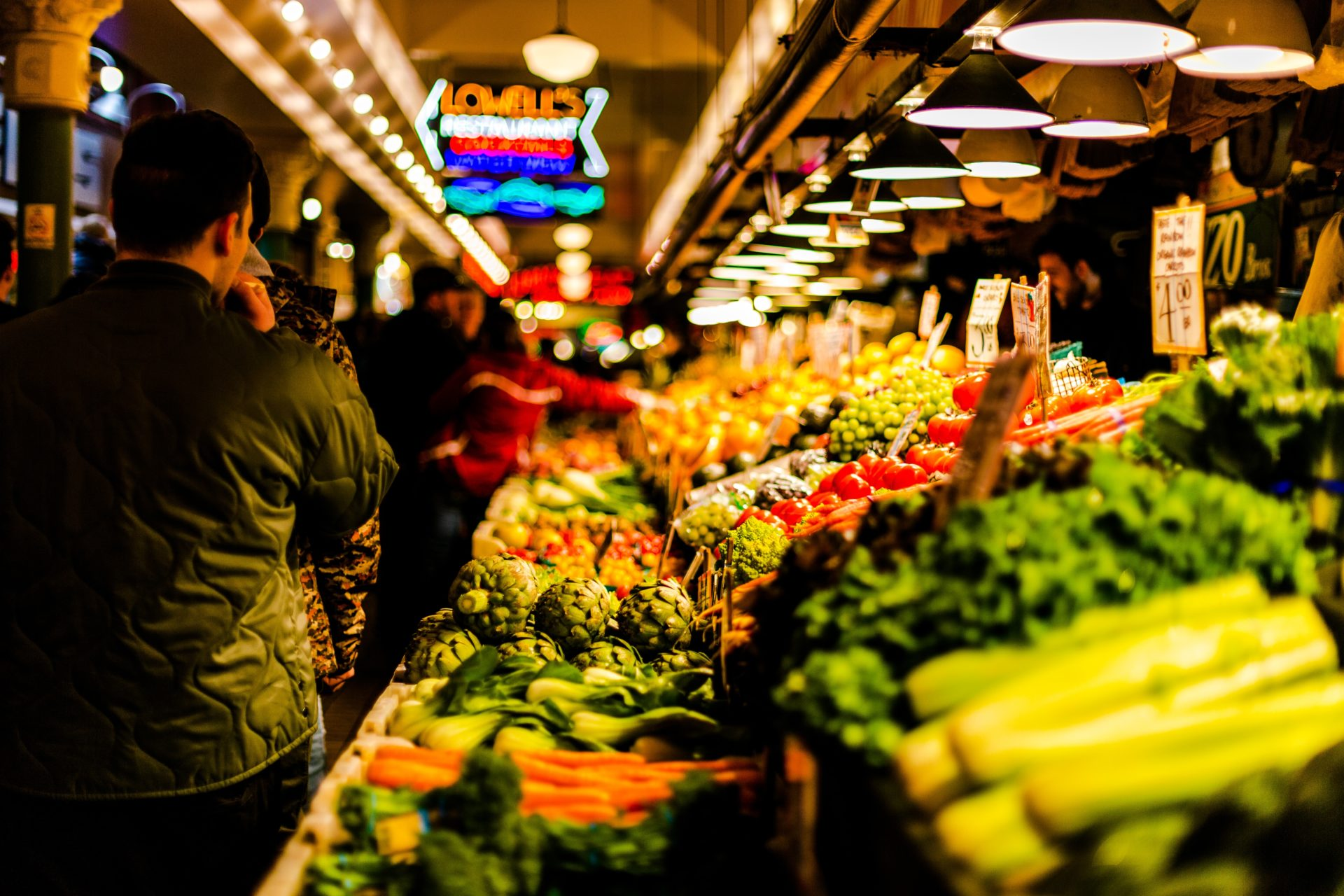supermarket vegetable display