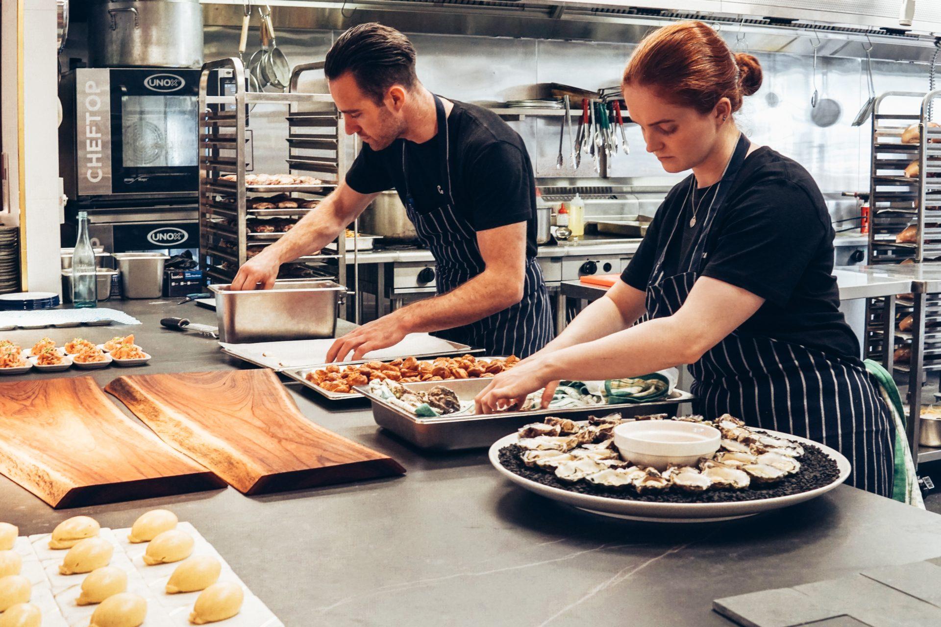 kitchen staff working